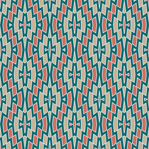 Tribal Diamond Pattern in Teal, Coral and Tan