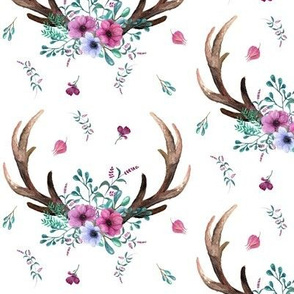 Antlers & Flowers - Purple + Teal Floral Deer Antler Baby Girl Nursery Crib Bedding A
