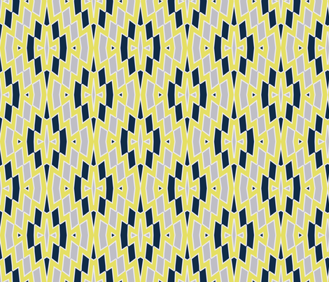 Tribal Diamond Pattern in Navy, Gray and Yellow fabric - mel_fischer ...