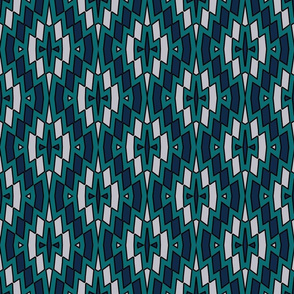Tribal Diamond Pattern In Teal, Navy and Gray