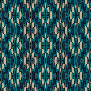 Tribal Diamond Pattern in Teal, Navy, Tan