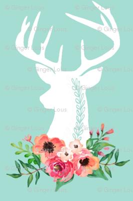 Deer + Flowers (mint) – Coral Peach Floral White Deer Woodland Baby Girl Nursery Bedding Crib Sheets Blanket