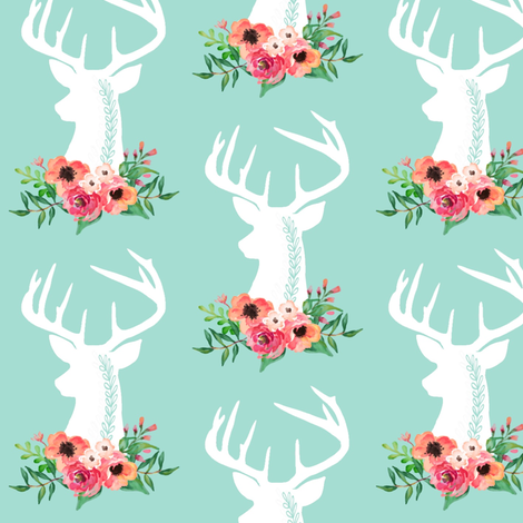 Deer + Flowers (mint) – Coral Peach Floral White Deer Woodland Baby Girl Nursery Bedding Crib Sheets Blanket fabric by gingerlous on Spoonflower - custom fabric