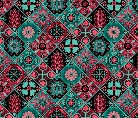 Watercolor Talavera Tiles- Pink and Green // spanish mexican ceramic diamond floral tile neon green mint emerald rose pink black fabric fabric by liz_sawyer_design on Spoonflower - custom fabric