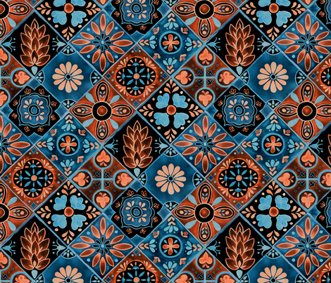 Watercolor Talavera Tiles Blue And Orange Spanish Mexican - Black and white talavera tile