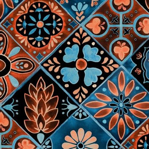 Watercolor Talavera Tiles- Blue and Orange // spanish mexican ceramic diamond floral tile neon blue orange black fabric