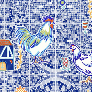 spanish country tiles - blue