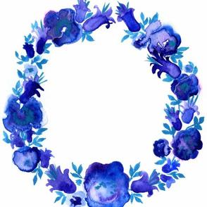 Cobalt floral wreath