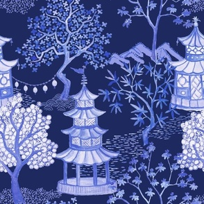 Pagoda Landscape on Indigo Blues