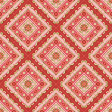 Melanie Ortner - spanish tile -stripes in coral1 fabric by melanio on Spoonflower - custom fabric