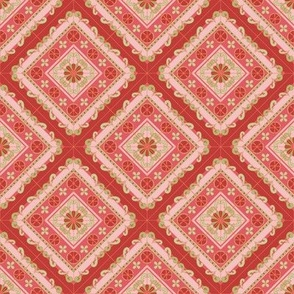 Melanie Ortner - spanish tile -stripes in coral1