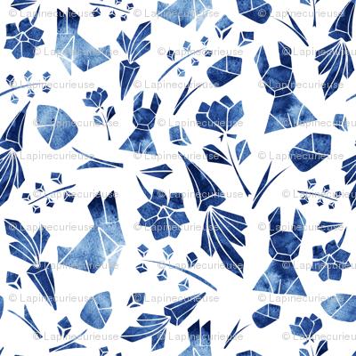 Watercolor origami navy