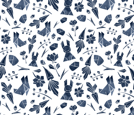 Watercolor origami navy fabric by lapinecurieuse on Spoonflower - custom fabric