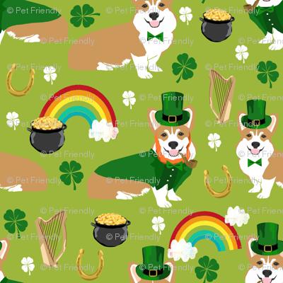 corgi leprechaun fabric - st pattys day corgis dog design - lime (small)
