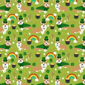 corgi leprechaun fabric - st pattys day corgis dog design - lime (small)