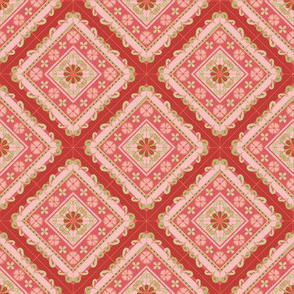 Melanie Ortner - spanish tile -stripes in coral2