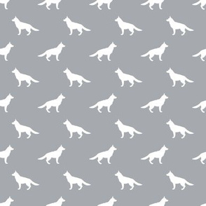 german shepherd silhouette - dog design - grey (small version)