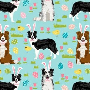 border collie spring fabric easter - mixed coats easter egg hunt, pastel, spring dogs - blue