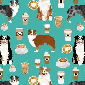 australian shepherd coffee fabric - aussie dogs mixed coats and coffees - turquoise