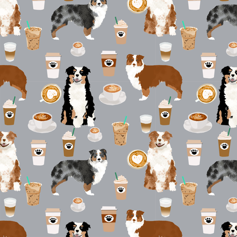 australian shepherd coffee fabric - aussie dogs mixed coats and coffees - grey fabric by petfriendly on Spoonflower - custom fabric