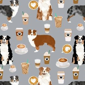 australian shepherd coffee fabric - aussie dogs mixed coats and coffees - grey