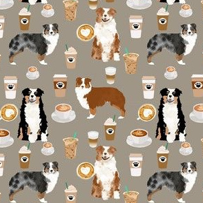 australian shepherd coffee fabric - aussie dogs mixed coats and coffees - med. brown