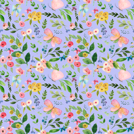 """4"""" Butterfly World / Lilac fabric by shopcabin on Spoonflower - custom fabric"""