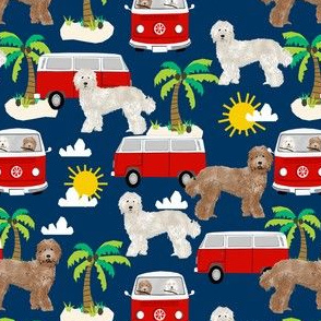 labradoodle beach fabric summer dog palm trees summer - navy