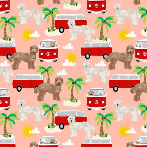 labradoodle beach fabric summer dog palm trees summer  - peach fabric by petfriendly on Spoonflower - custom fabric