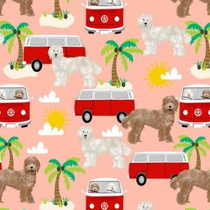 labradoodle beach fabric summer dog palm trees summer  - peach