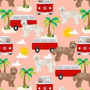 labradoodle beach fabric summer dog palm trees summer  - peach