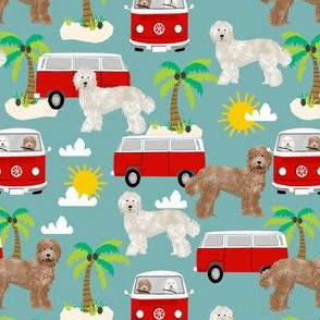 labradoodle beach fabric summer dog palm trees summer van - blue
