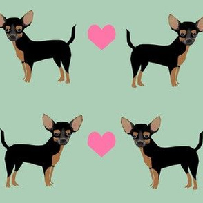black and tan chihuahua love fabric - mint and pink (large scale)