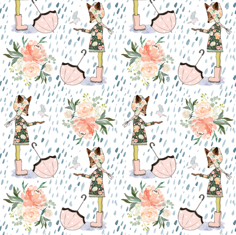 "4"" Spring Friends Rainfall - White fabric by shopcabin on Spoonflower - custom fabric"