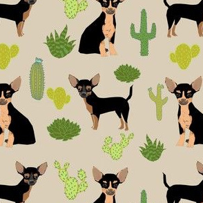 chihuahua cactus fabric - dogs and cacti black and tan chiwawa - tan