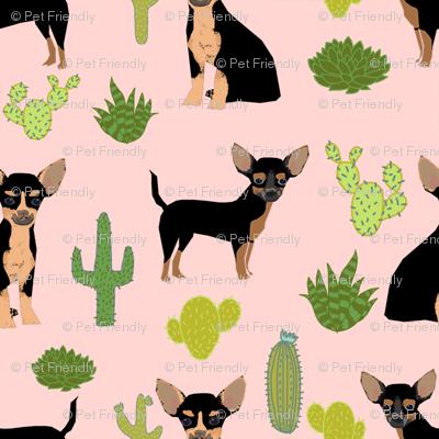 chihuahua cactus fabric - dogs and cacti black and tan chiwawa - pink