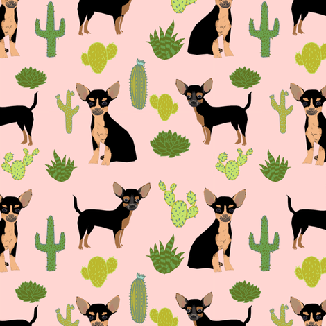 chihuahua cactus fabric - dogs and cacti black and tan chiwawa - pink fabric by petfriendly on Spoonflower - custom fabric