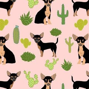 chihuahua cactus fabric - dogs and cacti black and tan chiwawa - pink