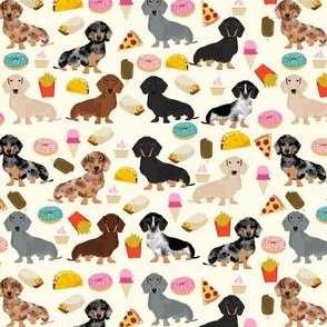 doxie junk food fest - donuts, junk food, pizza, doxie dachshund (small)