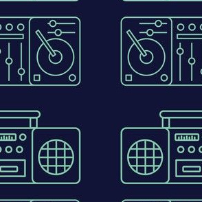 Boombox and Turntable