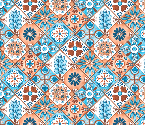 Watercolor Talavera Tiles- Blue and Brown // spanish mexican ceramic diamond tile earth tones teal terracotta fabric fabric by liz_sawyer_design on Spoonflower - custom fabric