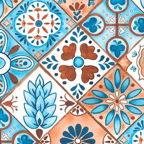 Watercolor Talavera Tiles- Blue and Brown // spanish mexican ceramic diamond tile earth tones teal terracotta fabric