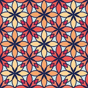Mosaic Print in Coral & Navy