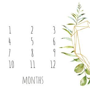 Geometric Floral Heart Baby Milestone Blanket