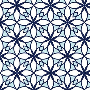 Mosaic Print in Navy and Pale Blue