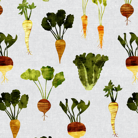 rustic veggie on grey fabric by littlearrowdesign on Spoonflower - custom fabric
