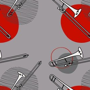 Trombone with Dots Red