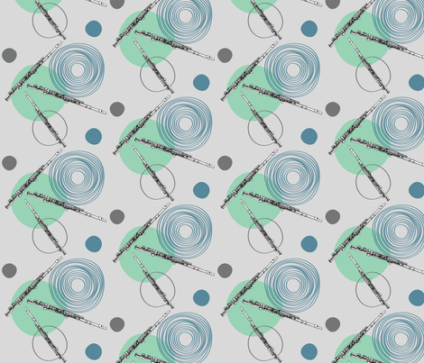 Flutes and Circles fabric by la_panim on Spoonflower - custom fabric