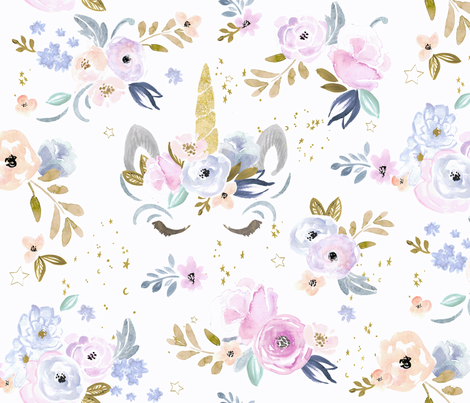 unicorn floral-twilight fabric by crystal_walen on Spoonflower - custom fabric