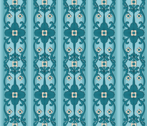 E'flore Crostuto TEAL border fabric by jewelraider on Spoonflower - custom fabric